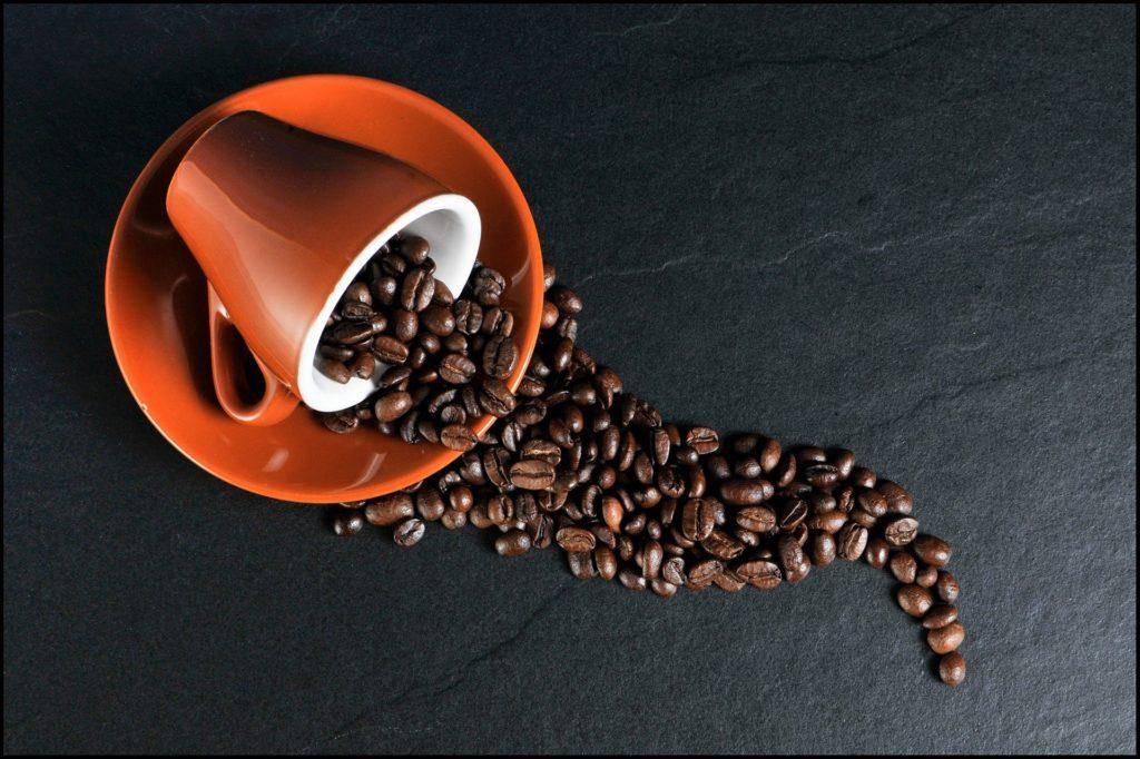 filiżanka z ziarnami kawy